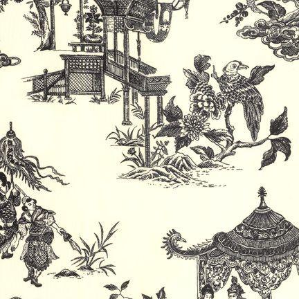 Robert Kaufman Fabrics: EK-3060-5 IVR/BLK from Oriental Traditions Original Collection