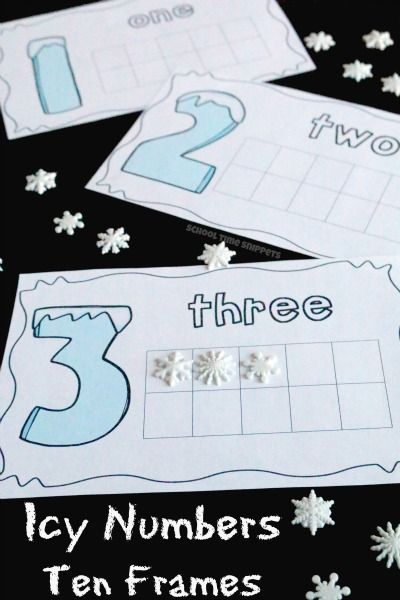 Build Number Sense with your preschooler or kindergartener using these winter- inspired Icy Numbers Ten Frames | School Time Snippets