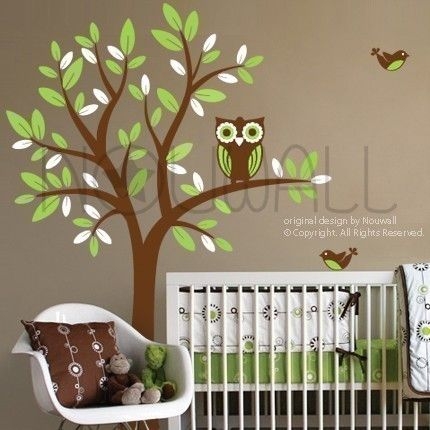 Tree Wall Decals Wall Stickers Tree Decal - Owl on Tree - 089 -children wall decal. $68.00, via Etsy.
