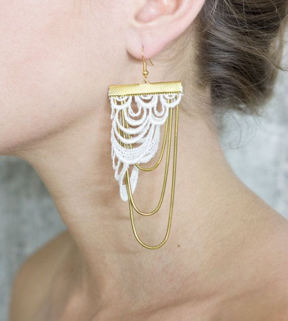 Lace earrings  Arches  Ivory with golden snake chain by thisilk, $52.00