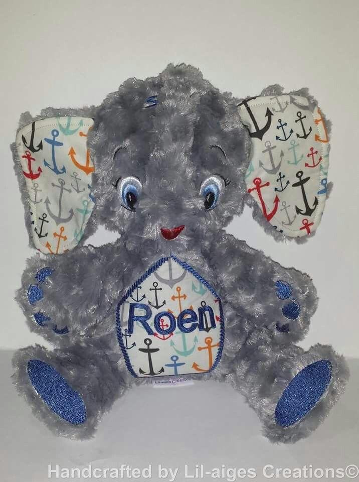 Grey Minky Rose Swirl Personalised Elephant