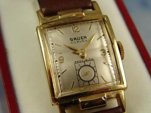 STUNNING STEER HORN LUG GOLD FL FANCY GRUEN CURVEX MENS DRESS WATCH VINTAGE 1952   eBay