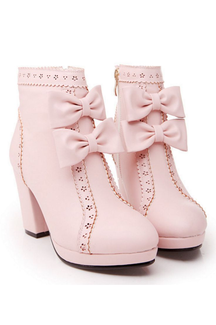 Zipper Side Bowknot Heeled Booties In Pink