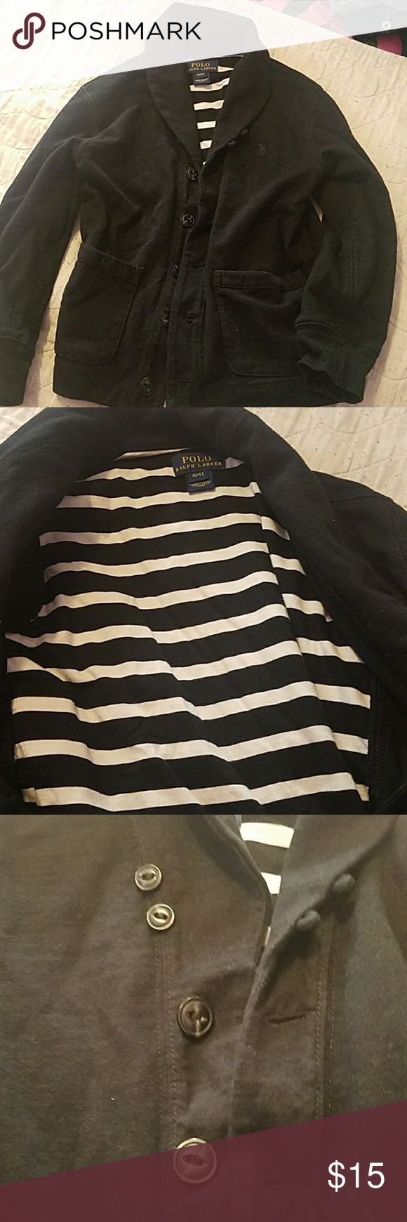 Toddler boys sweater Cute all black sweater. Only wore once. 8n great condition. Cute when paired with jeans or black khaki pants. Cute to wear for winter or the holidays. Polo by Ralph Lauren Shirts & Tops Sweaters