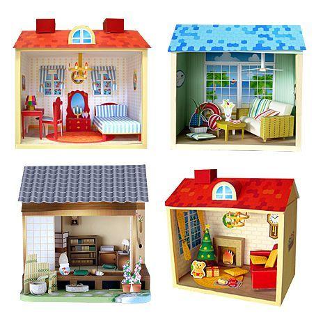 24 Mini Papercraft Dollhouses Cards Papercrafts 2