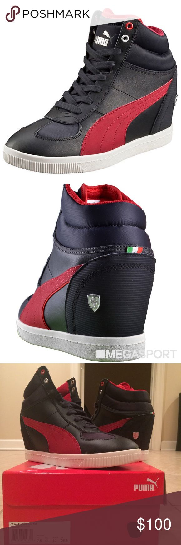 Puma Ferrari Hidden Wedge Sneaker SF Wedge Selection NM Designed with the race track in mind. This Ferrari wedge sneaker features a sleek, synthetic leather upper, classic Ferrari detailing, and – of course – a hidden wedge. A girl's secret weapon of style and sport-savviness. Features. Synthetic leather upper. padded collar. Lace closure for a secure fit. Rubber outsole for grip. PUMA Formstrip at lateral side; Italian flag stitched at heel; metallic Ferrari Shield Logo at lateral heel…