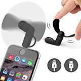 ONX3® (BLACK) EMPORIA SMART Mobile Cell Phone Portable Pocket Sized Fan Accessory 2 in 1 Connector For Android Micro USB and IOS iPhone - http://themunsessiongt.com/onx3-black-emporia-smart-mobile-cell-phone-portable-pocket-sized-fan-accessory-2-in-1-connector-for-android-micro-usb-and-ios-iphone/
