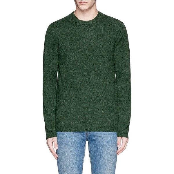Ink Crew neck cashmere sweater (16,320 INR) ❤ liked on Polyvore featuring men's fashion, men's clothing, men's sweaters, mens green sweater, mens crew neck sweaters, mens cashmere sweaters, mens crewneck sweaters and mens ribbed sweater
