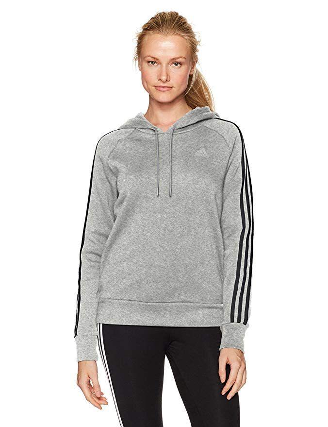 c1400d2228ec adidas Womens Athletics Essential Cotton Fleece 3 Stripe Pullover Hoody,  Medium Grey Heather/Black