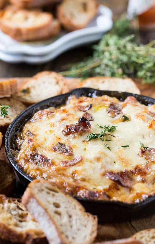 Hot Caramelized Onion Dip with Bacon and Gruyere - Spicy Southern Kitchen