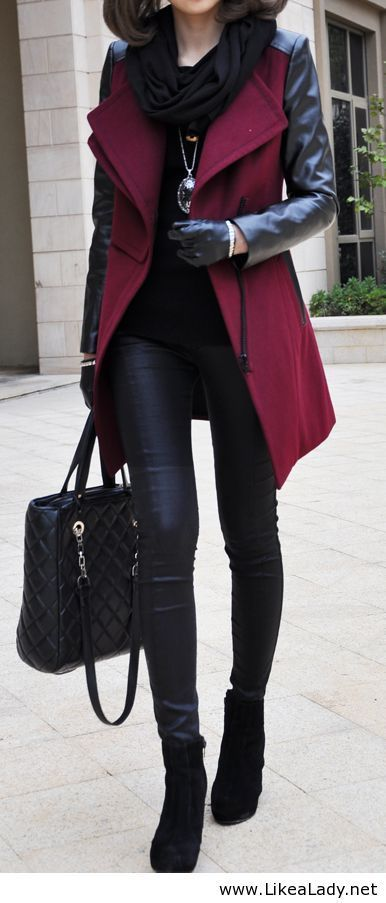 Burgundy coat.  Thought of Avery when I saw this.