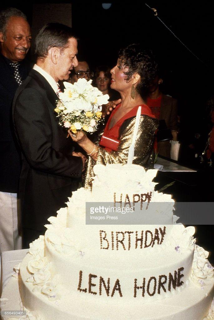 Tony Randall helps Lena Horne celebrate her birthday circa 1981 in New York City.
