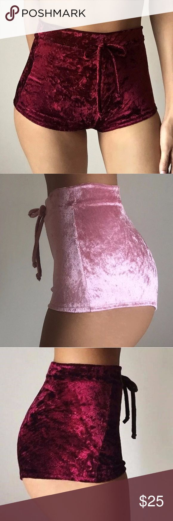 Velvet lounge high waisted shorts Brand new velvet high waisted shorts                                          Medium sizing: 6-8. Waist-26-29in, Hips-35-37,8in, Length-11.6in.                                  ✨Comment which color you want when purchasing✨ (Tagged in VS for exposure) PINK Victoria's Secret Shorts