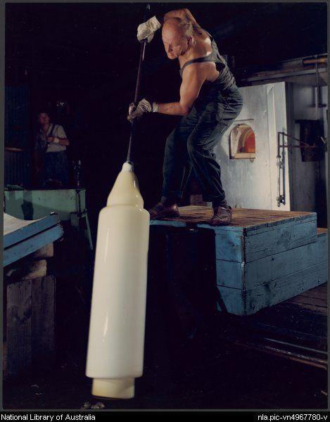 Ukrainian glassblower at ACI, New Zealand, 1964, by Wolfgang Sievers. Source: National Library of Australia Via: @nlagovau