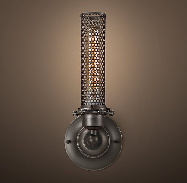 Edison Perforated Metal Single Sconce Gunmetal On Sale 109