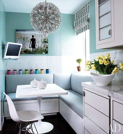 perfect nook!Lights Fixtures, Breakfast Nooks, Breakfastnooks, Small Kitchens, Kitchens Ideas, Dining Spaces, Kitchens Nooks, Small Spaces, Architecture Digest