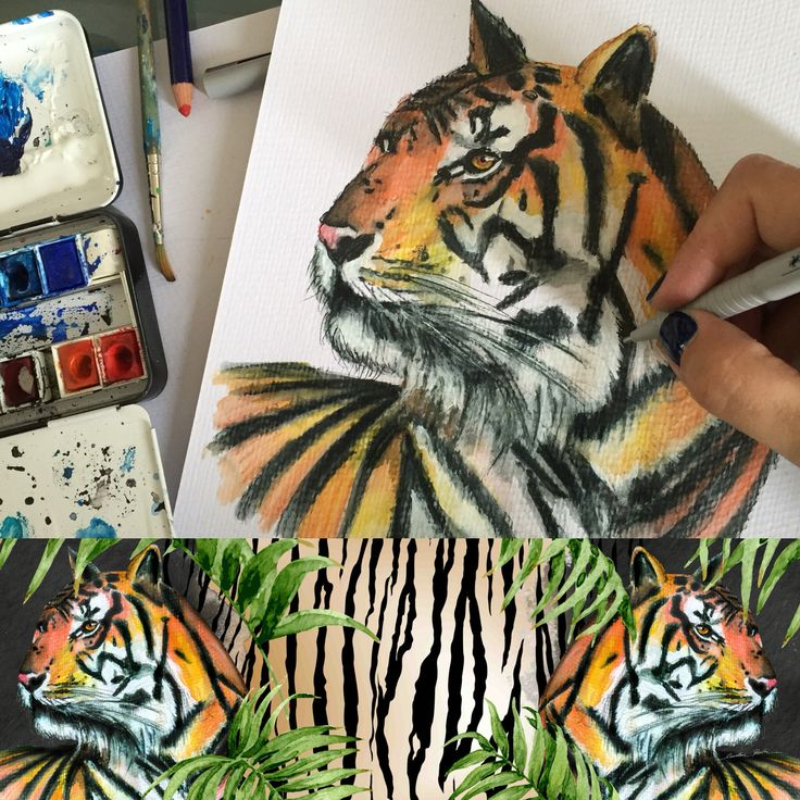 making of #releasethebeast #daretogodouble custom artwork for the #limitededition #scarfs #pashmina for @magic_algida #icecream #print #art #artist #greece (www.carolinerovithi.com) #magicicecream #tiger #tropical