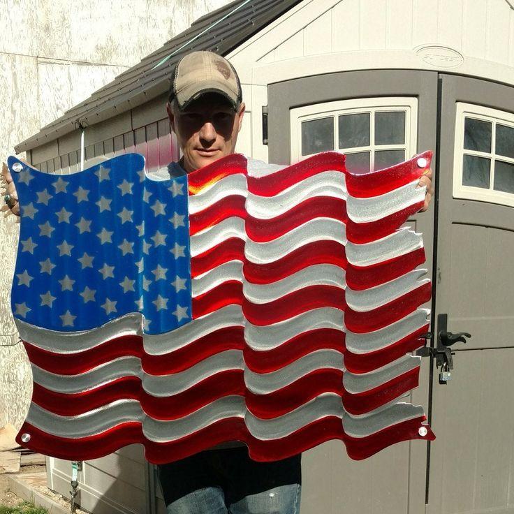American flag metal wall art outdoor flag etsy