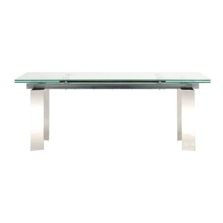Modern Life Luke 79-inch Stainless Steel and Glass Extension Dining Table (Stainless Steel), Silver