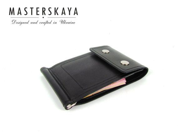 Stylish and laconic mens money clip wallet hand crafted of genuine leather is thin and convenient to use. The wallet has one clip for banknotes