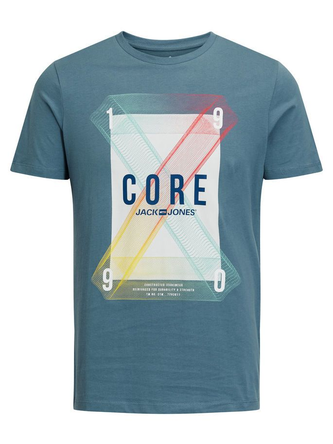 Graphic slim fit t-shirt made from comfortable cotton, with pop colour print | JACK & JONES #core