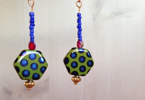 SALE  Green and blue peacock bead earrings by Deliciousbits