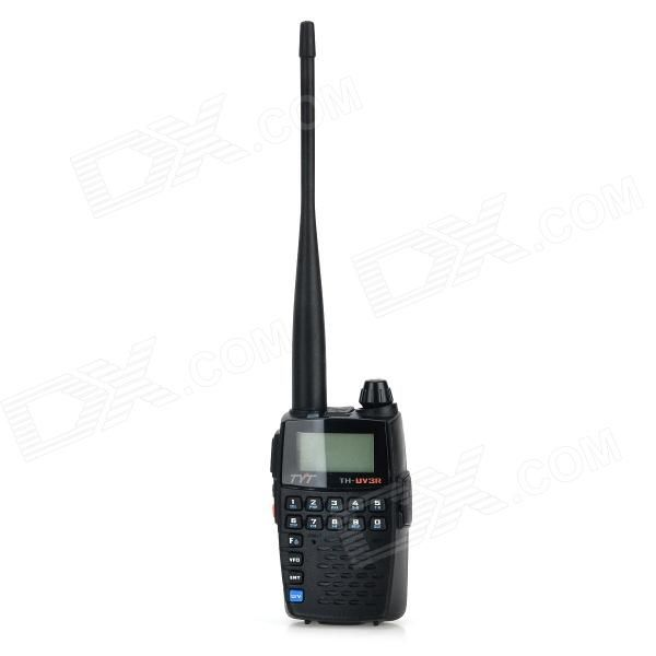 """""""TYT TH-UV3R1.8"""""""" Display Dual Band 128-CH Walkie Talkie / FM Radio - Black"""". Compact and easy to operate; Chinese and English voice prompt; Voice scrambler; Emergency alert COMP function; Channel name editing; Dual monitoring mode; VOX sound control function; CTCSS/DCS codec and auto scanning; Wide/Narrow Band(25kHz/12.5kHz) Full frequency coverage 1750Hz tone Battery capacity management Power-on protection function Progammable multifunction key FM radio and 25 radio stations memory Wire…"""