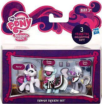 My Little Pony Friendship is Magic Famous Friends 3-Pack Rarity, Photo Finish & Hoity Toity by Hasbro. $11.30. Includes 3x Mini ponies. Character specific accessories included. Collect them all!. Brand new. Officially licensed set. These beautiful pony figures are ready to share adventures and fun! Youll have so much fun with RARITY, PHOTO FINISH and HOITY TOITY figures. Your PHOTO FINISH figure is the most posh of all your favorite MY LITTLE PONY characters, ...