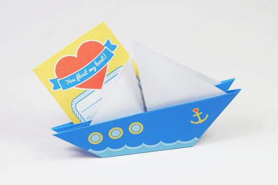 Printable DIY Origami Love Boat Card
