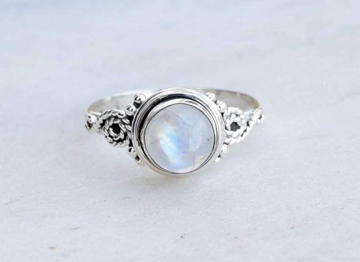 Rainbow Moonstone ring, moon stone silver ring, silver ring, silver rainbow ring, stone ring, 92.5 sterling silver, moon stone Silver Ring by silvershop925 on Etsy (null)