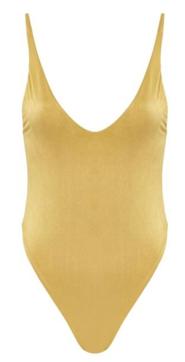 BABE WATCH ADJUSTABLE STRAP SUEDE ONE PIECE // YELLOW