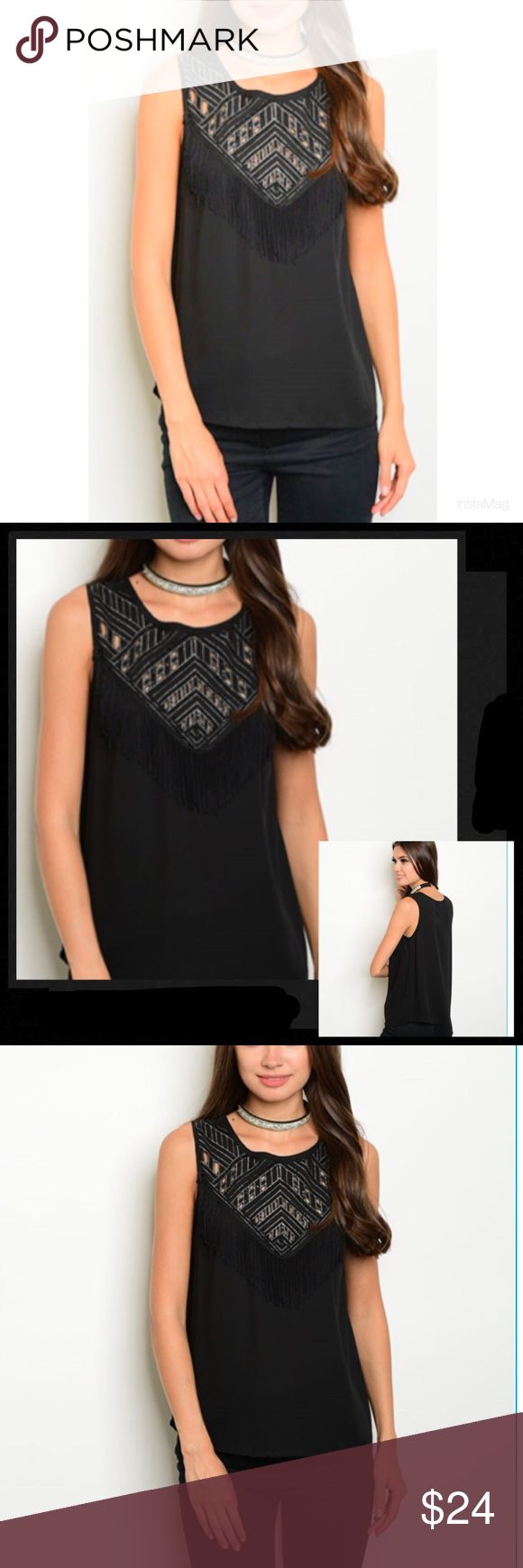 Black beaded fridge shirt 🆕 New Sleeveless beaded front fringe detailed chiffon blouse. Simply gorgeous! Looks fabulous on, very flattering! Fabric Content: 100% Polyester Verty Tops
