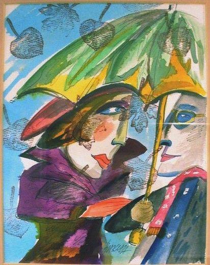 Obraz Kobieta z parasolką - Artysta Hanna Bakuła