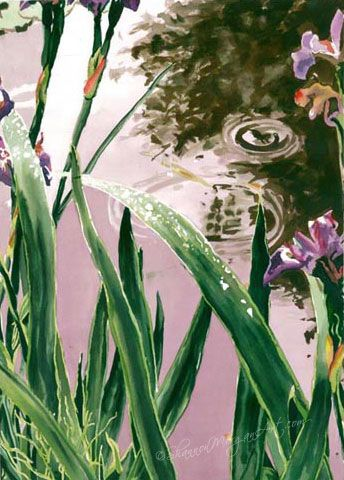 Landscape, pond, tall leaves, green, pink, purple, rendition of photo 023 The Pond (18×26 print) Price: $250 CAD, (8 x 10 print with 11 x 14 mat & backing) Price: $75 CAD, (5 x 7 art card) Price: $5 CAD http://shannonmorganart.com/landscapes-skyscapes/023-the-pond/