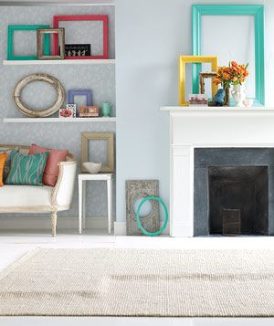 Use empty picture frames to create visually striking geometric patterns against a