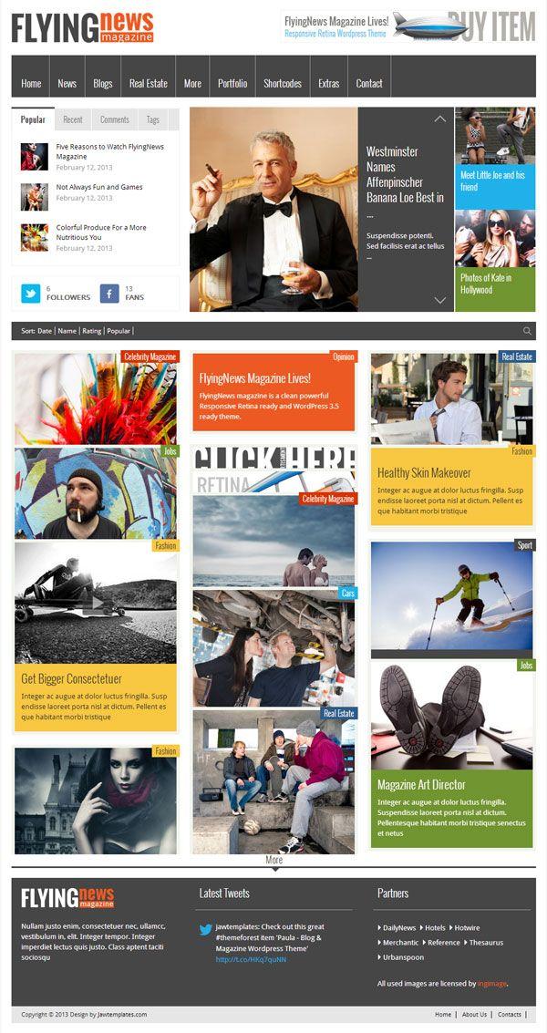 FlyingNews Responsive MAgazine WordPress Theme ThemeForest