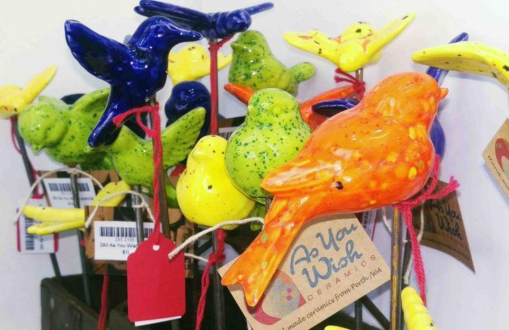 As You Wish Ceramics Ceramic Birds on sticks for the garden