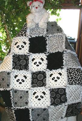 Panda Bear in White Black Baby Artisan Rag Quilt | eBay