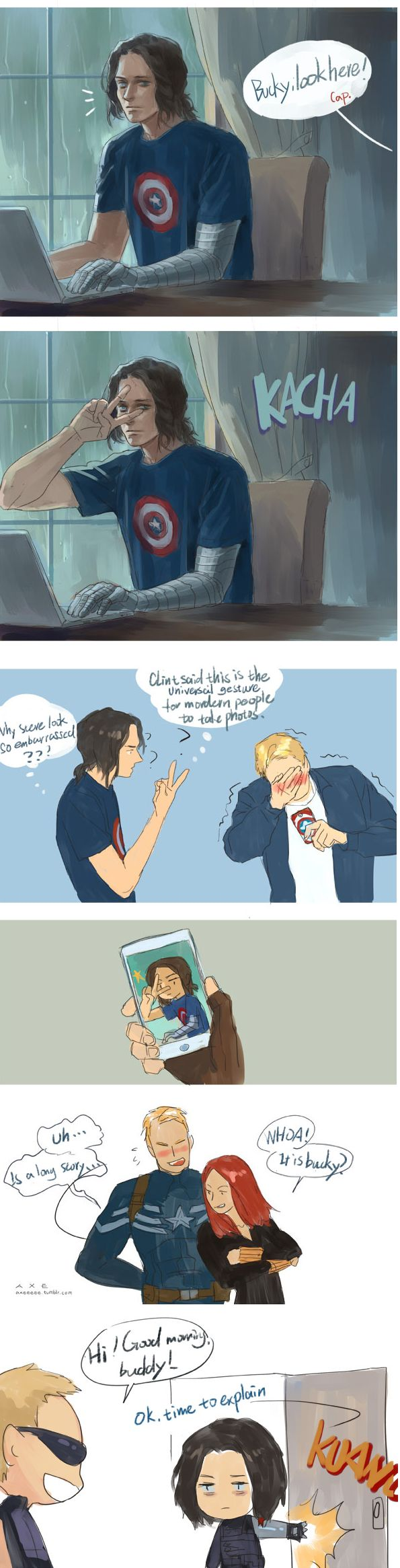 """-So, I'm not really sure if I got it right, but I'm guessing Bucky is so cute that it got Steve flustered?? --- Not exactly hehehe! Clint might have instructed Bucky in the gesture of the """"fierce"""" sign and everyone thinks it's absolutely hilarious!-  Oh!  He's trying not to laugh then. Okay!  Thank you!"""