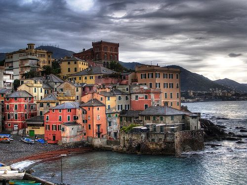 Boccadasse, Italy. An old mariners village in Genoa.We stayed in this little area.  The cream colored bldg on the right we had the rooftop terrance to ourselves.