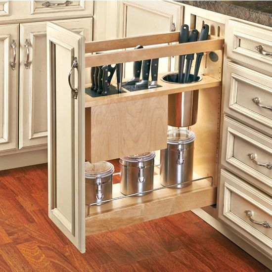 When it comes to kitchen knives, storage is a problem. Wood block holders become less useful as your collection expands, and sticking extra large knives into a drawer is far from ideal. Try the Knife and Utensil Base Organizer. With a pull out base cabinet organizer, you can store knives and other large utensils in a new way that will acomidate your collection of kitchen tools. Find other great offers on Rev-A-Shelf, as well as free shipping on orders over $99 at KitchenSource.com