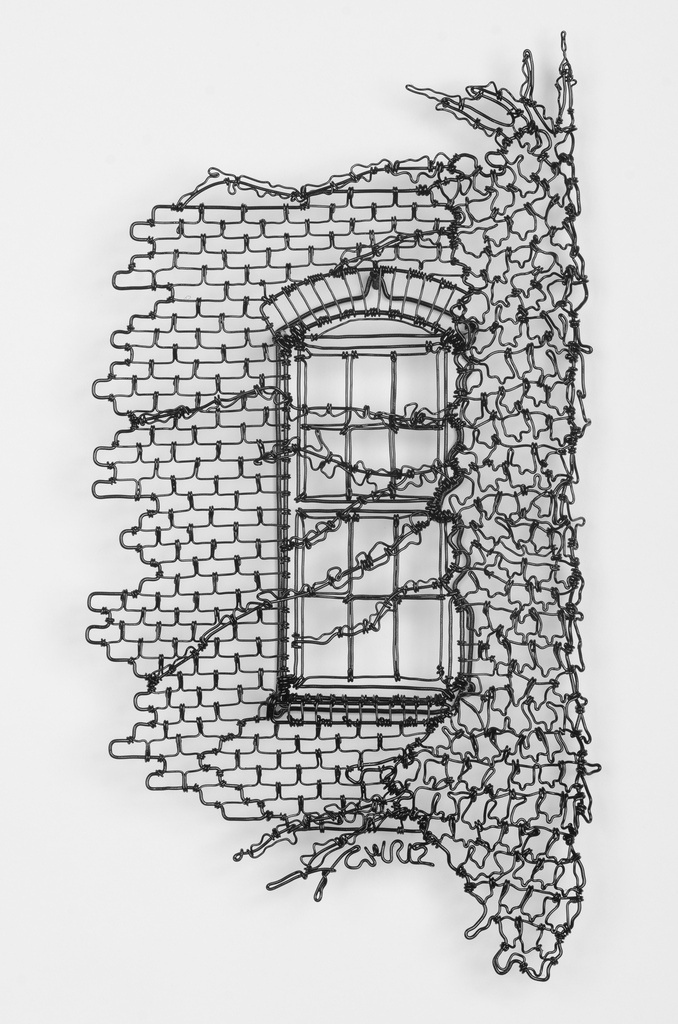i love this wire drawing of a wall . i love the detail in it and the intricacy of the piece. there is good use of line in this piece.