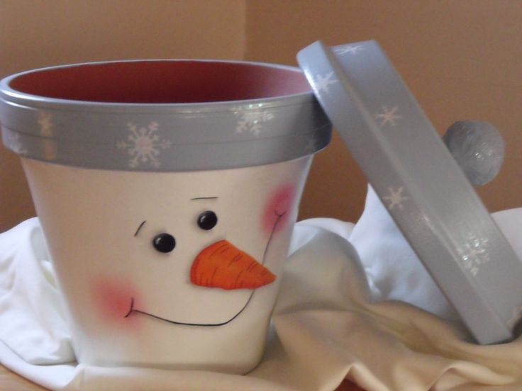 terra cotta pot snowman