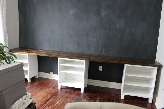 Diy 12 foot long double desk family room play room pinterest pine boards middle and - Extra long office desk ...
