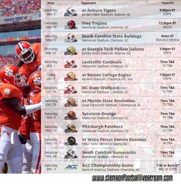 clemson football-live-stream Schedule