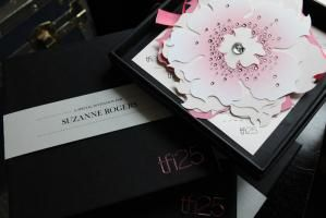 Palettera Custom Correspondences created eye-catching invitations, studded with Swarovski crystals. The flowers pulled apart to reveal the event details.