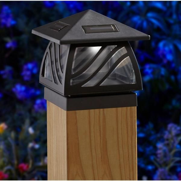 Moonrays Solar Black Outdoor Integrated Led Post Cap Deck Light 91196 The Home Depot In 2020 Solar Lights Solar Lights Garden Deck Lighting