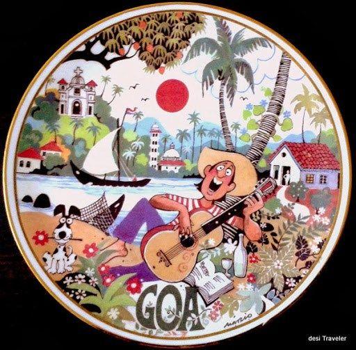 A Tile with Mario Miranda Cartoon showing life in Goa