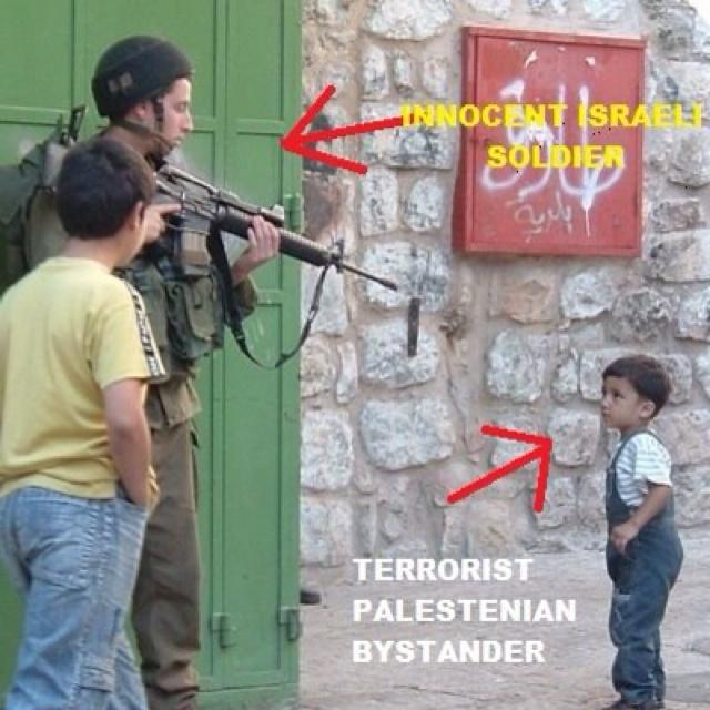 Soldado inocente de Israel apuntando a un niño terrorista israeli........si como no.....
