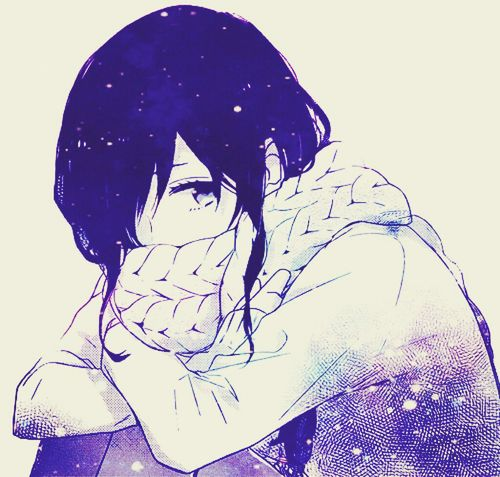 Most popular tags for this image include: anime, girl, scarf and galaxy